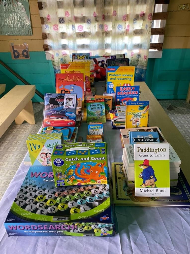 A selection of the donated books/word search game from the UK