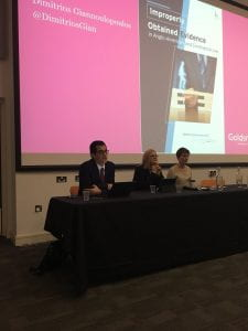 from left to right: Prof Dimitrios Giannoulopoulos, SL5's Fiona Dunkley and Prof Fiona Gabbert