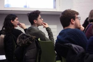 Many students from other Goldsmiths departments among the audience. Goldsmiths' Law concentrates heavily on interdisciplinary legal analysis.