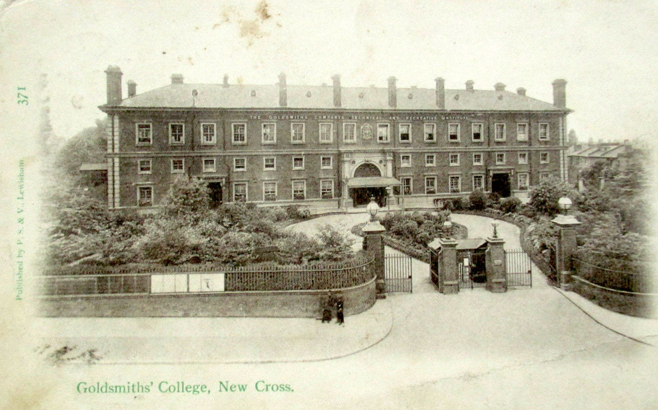 The 'College Beggar' with his broom does appear to be present in this postcard from 1904 with an image of the College when it was the Goldsmiths Company's Technical and Recreative Institute.