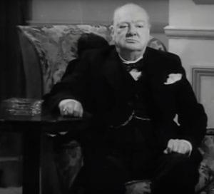 Churchill as 'defiant bulldog' in 1965 Pathe obituary.