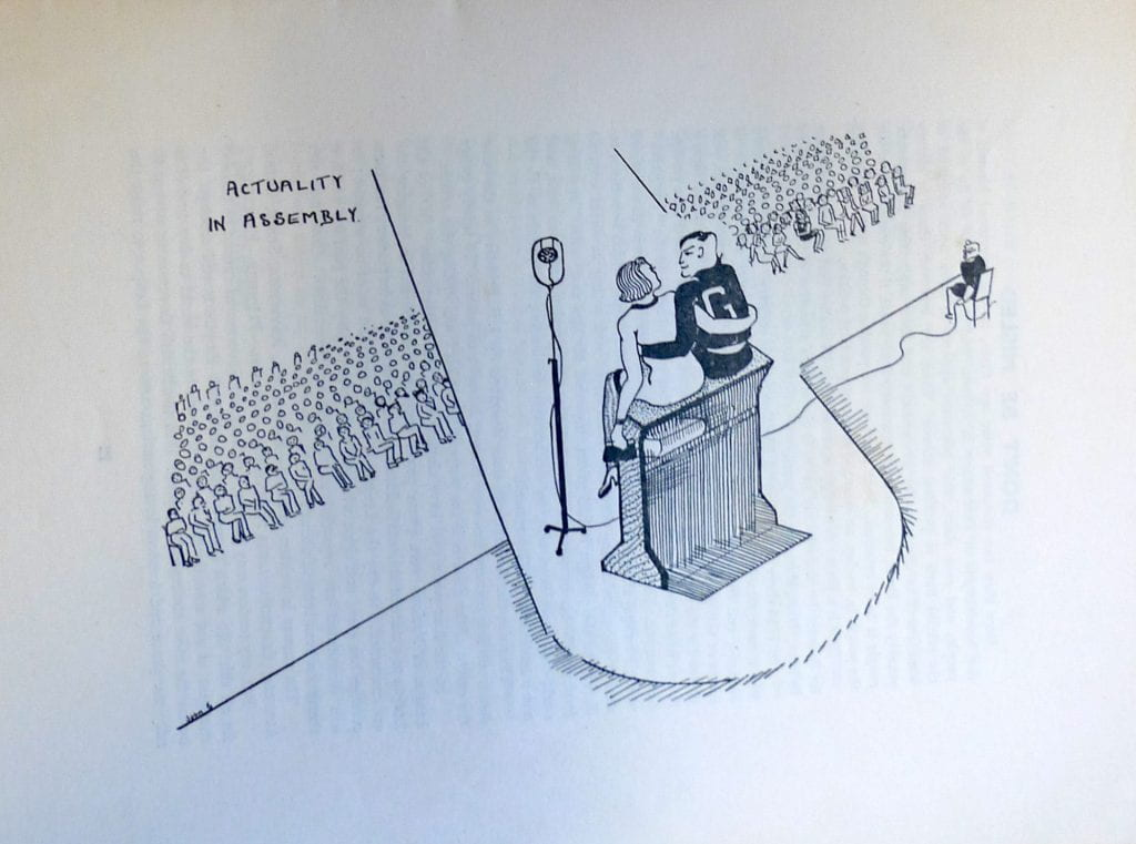 This cartoon in Goldsmiths College student magazine The Smith for Spring 1938 pokes gentle fun at a recent publication by staff of their book 'Actuality in Education' and references the ritual of compulsory morning assembly with the enjoyment some women students said they derived from observing men students doing physical education classes in the quadrangle in their distinctive track-suits with 'G' sewn onto their backs.