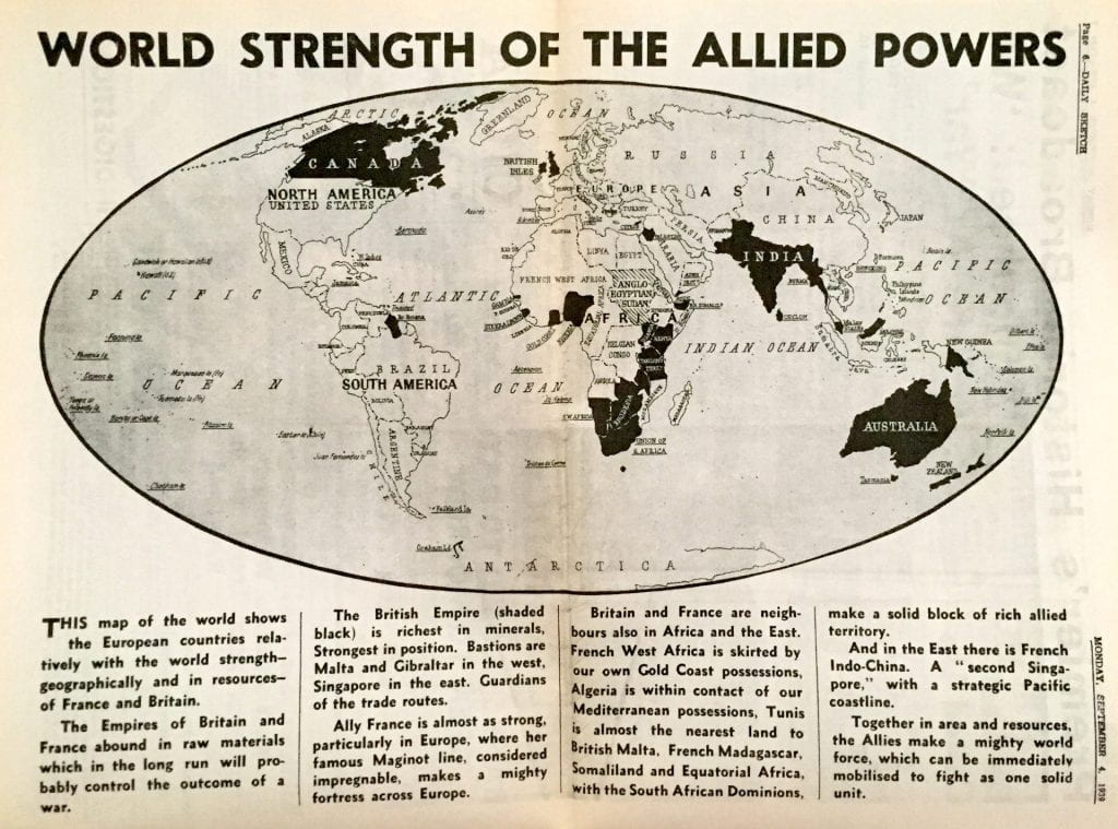 The Daily Sketch would have a centre spread setting out the geography of war and the strength of the Allied Powers. But there would be no replacement geography lecturer to teach it.