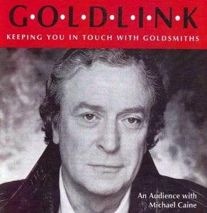 Portrait of Sir Michael Caine on front page of Goldlink- Goldsmiths alumni magazine