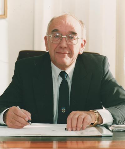 Portrait of Professor Ken Gregory when Warden of Goldsmiths College,Univeresity of London