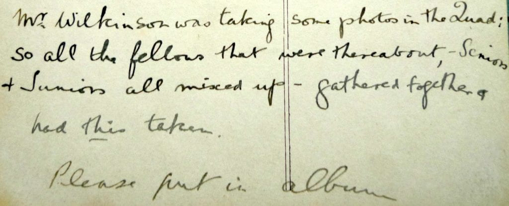 Meg Hindwood's handwriting on the back of one of her postcards.