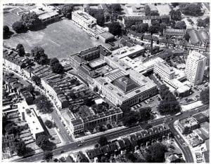 Aerial view of Goldsmiths' College around 1970 before the building of the new library.
