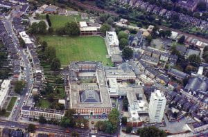 Aerial view in colour of Goldsmiths' College around 1980.