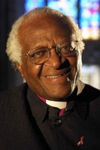 Colour photograph portrait of Archbishop Desmond Tuto.