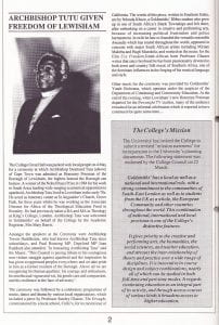 The inside page of Goldsmiths' Hallmark magazine for May 1990 reporting on the ceremony in the Great Hall where Archbishop Desmond Tutu was granted Freedom of Lewisham. The article includes a photographic portrait of the Archbishop.