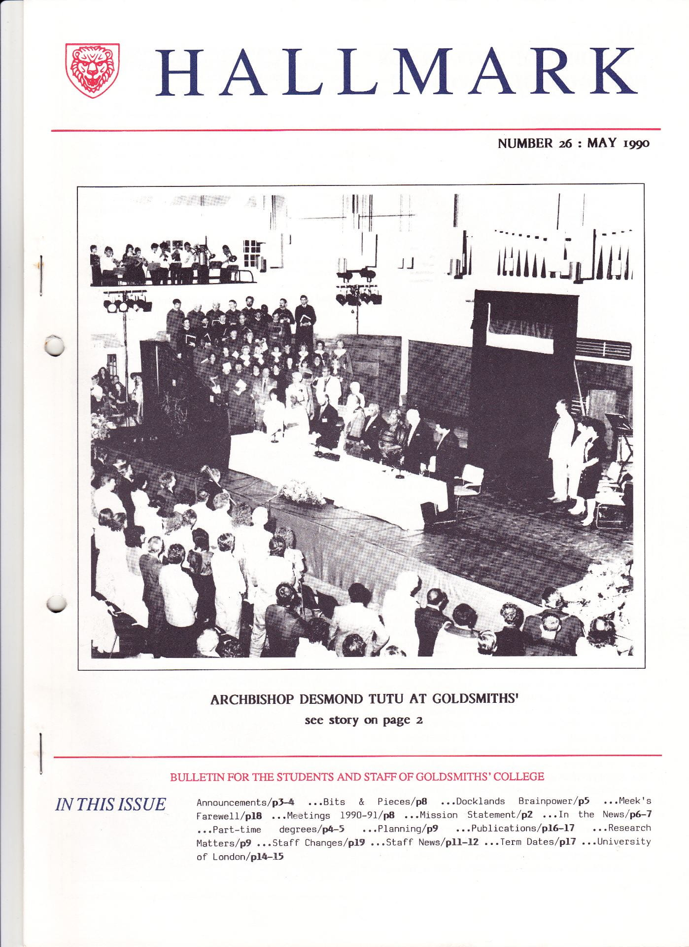 The cover of Goldsmiths' College internal staff and students monthly magazine for May 1990 featuring a scanned image of Archbishop Desmond Tutu receiving the Honorary Freedom of Lewisham in the Great Hall of Goldsmiths' College.