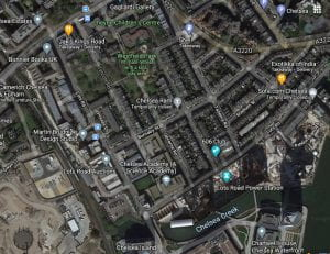 Satellite view of Lots Road area of Chelsea, London in 2021 including Lots Road Power tation, new Chelsea Academy, and Chelsea Creek.