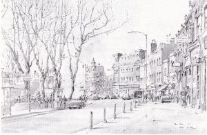 Black and white scan of water colour painting of Lewisham Way looking down to New Cross Inn in 1981.