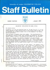 The front cover of Goldsmiths' College 'Staff Bulletin' for January 1980 bearing the college logo and a letter from the Warden Richard Hoggart.
