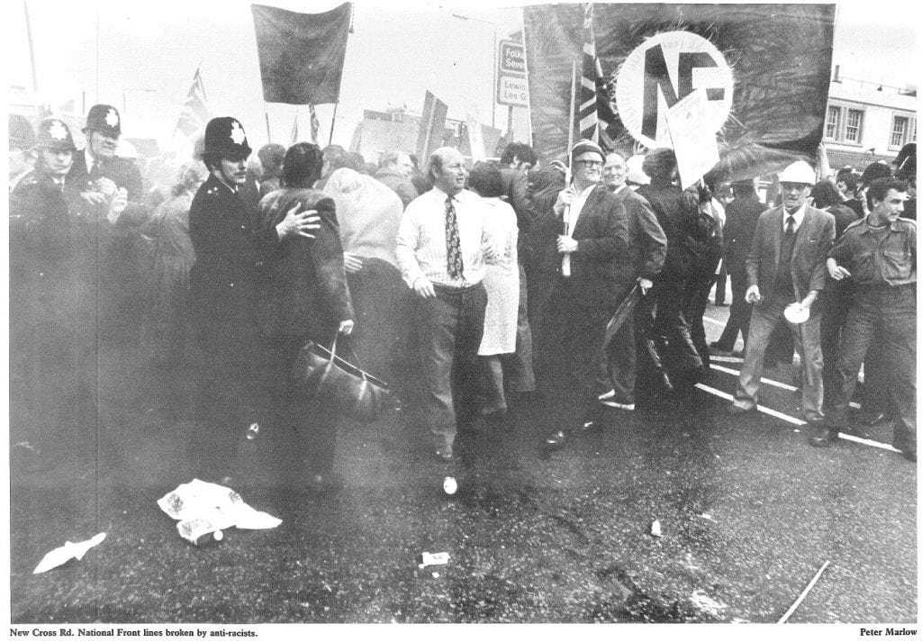 National Front lines broken by anti-racists, New Cross Road, 13 Aug 1977 (© Peter Marlow)
