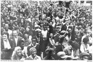 Anti-racists meeting bore the NF march, New Cross Road, 13 Aug. 1977 (© Paul Trevor)