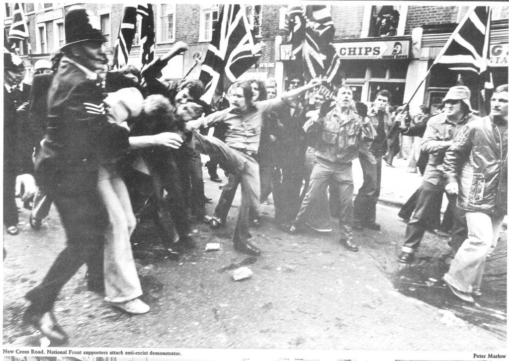National Front attack anti-racists, New Cross Road, 13 Aug 1977 (© Peter Marlow)