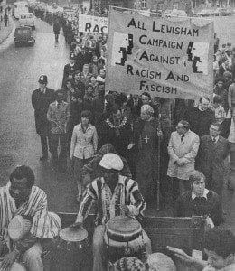 The march organised by the All Lewisham Campaign Against Racism and Fascism (ALCARAF) leaving Ladywell Fields, 13 Aug. 1977