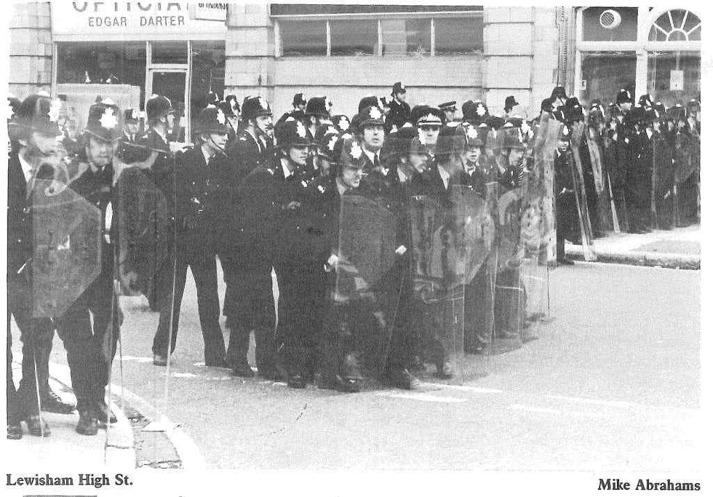 Met. Police use riot shields in public for the first time on the British mainland, Lewisham Way, 13 Aug. 1977 (© Mike Abrahams)