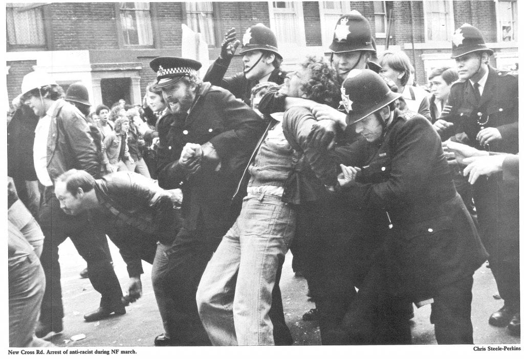 Arrest of an anti-racist protestor, New Cross Road, 13 Aug. 1977 (© Chris Schwarz)
