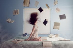 Image of woman and books