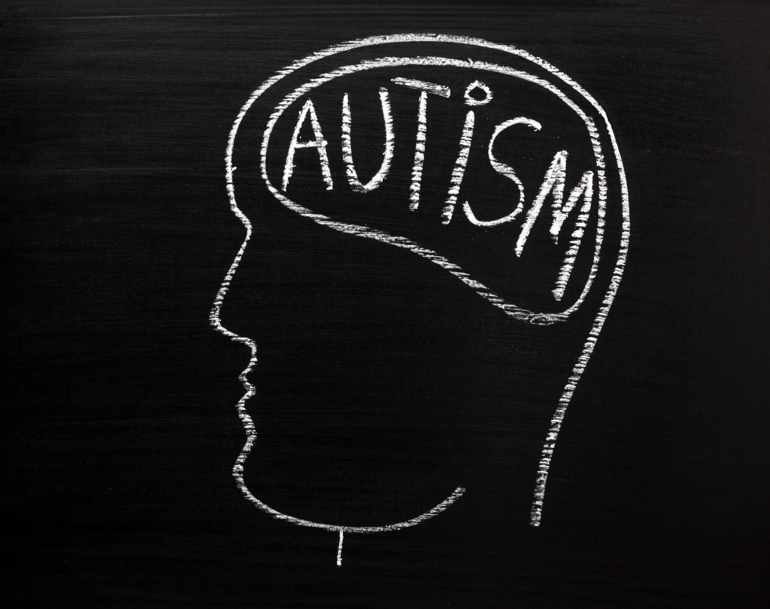 Human head on a blackboard with the word Autism on the brain