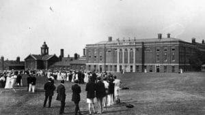 An old picture in black and white shows Goldsmiths in the early 20th century