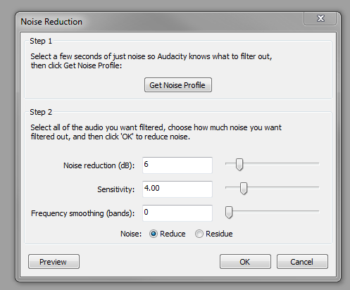 Noise reduction settings