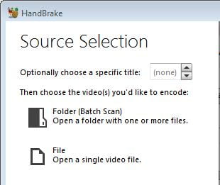 Single file option in Handbrake