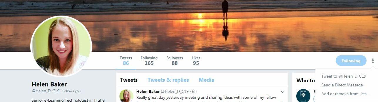Helen Twitter page