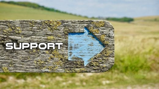 Image shows an old sign with the word 'support' written on it