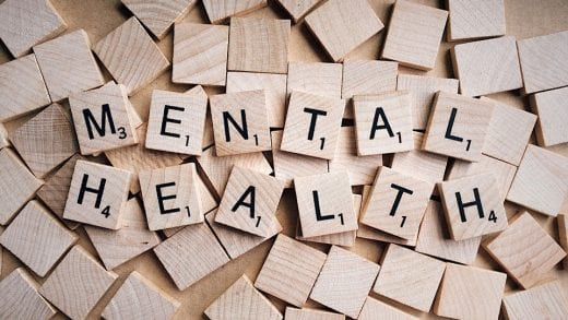 Image shows scrabble letters making up the words mental health