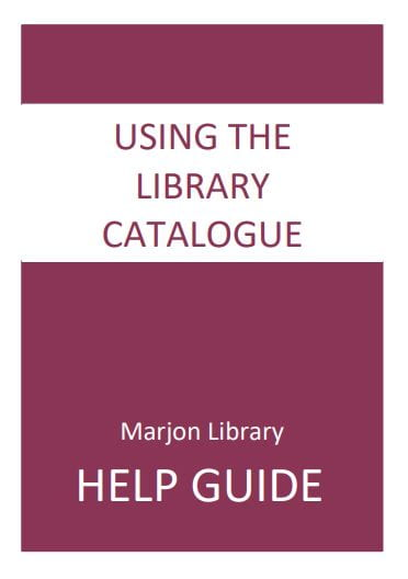 Front Cover: Using the Library Catalogue, click to open pdf
