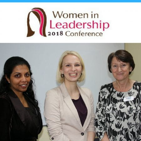 Image showing three members of staff at the women in leadership conference