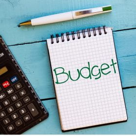 Image showing a graphic of a notepad and the word 'budget' written on it