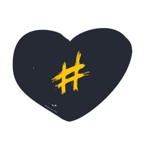 hashtag in a heart