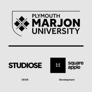 logos of marjon, studiose and square apple