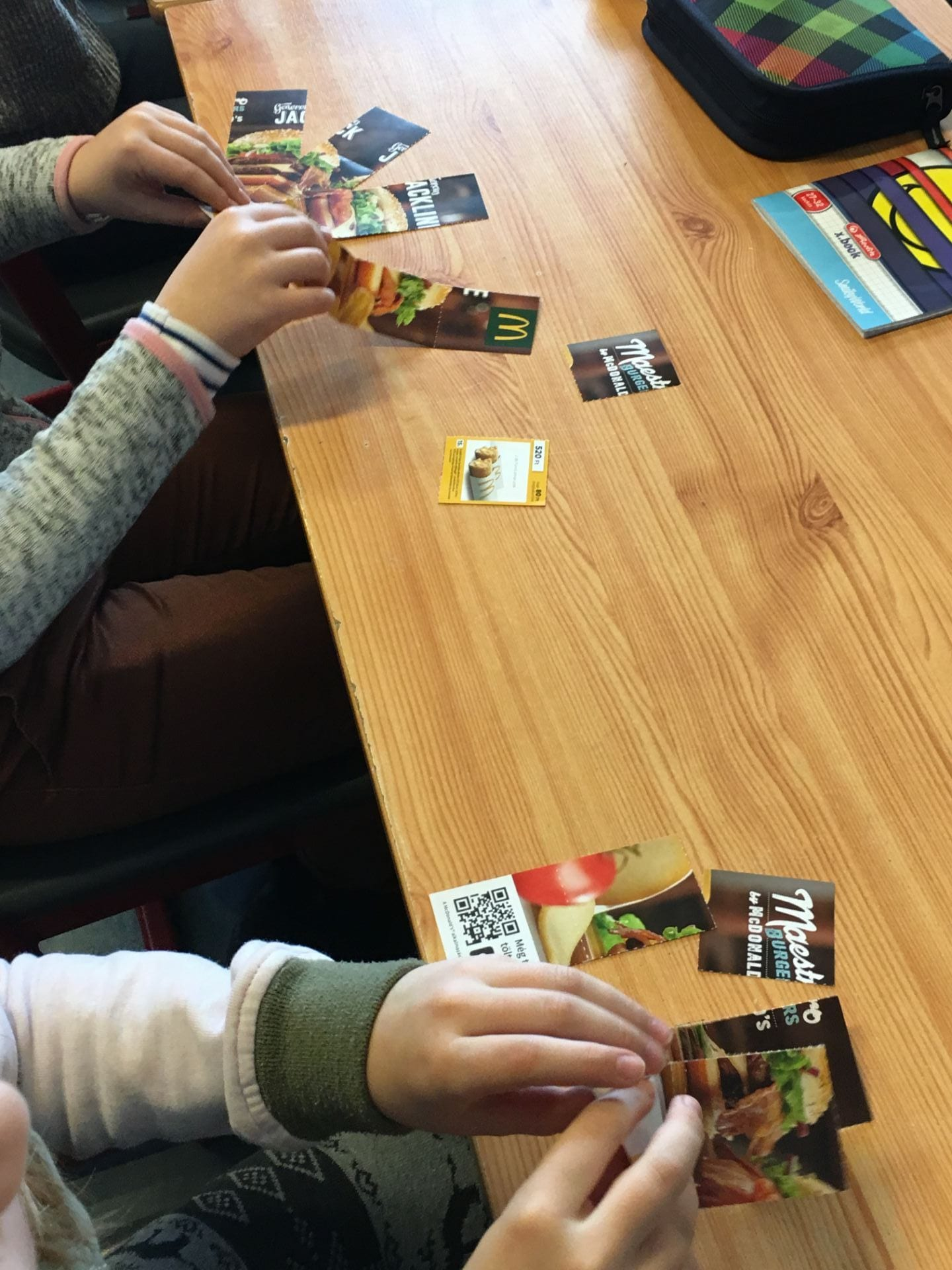 Children playing a maths game