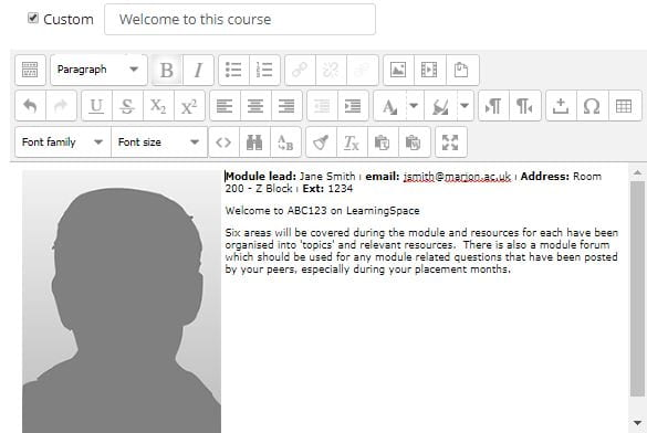 Example profile and welcome message
