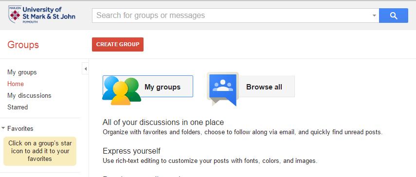 create group menu