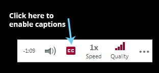 Screenshot showing how to enable captions on a video