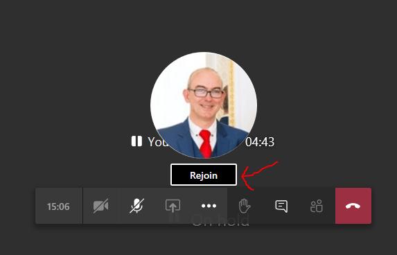 Screenshot showing rejoin link