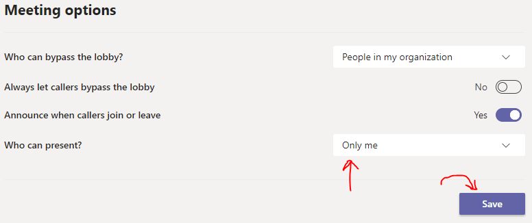 screenshot showing only me option