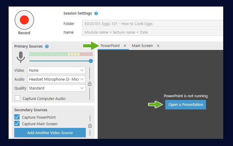 Showing the capture options