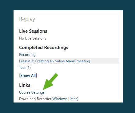 course settings block