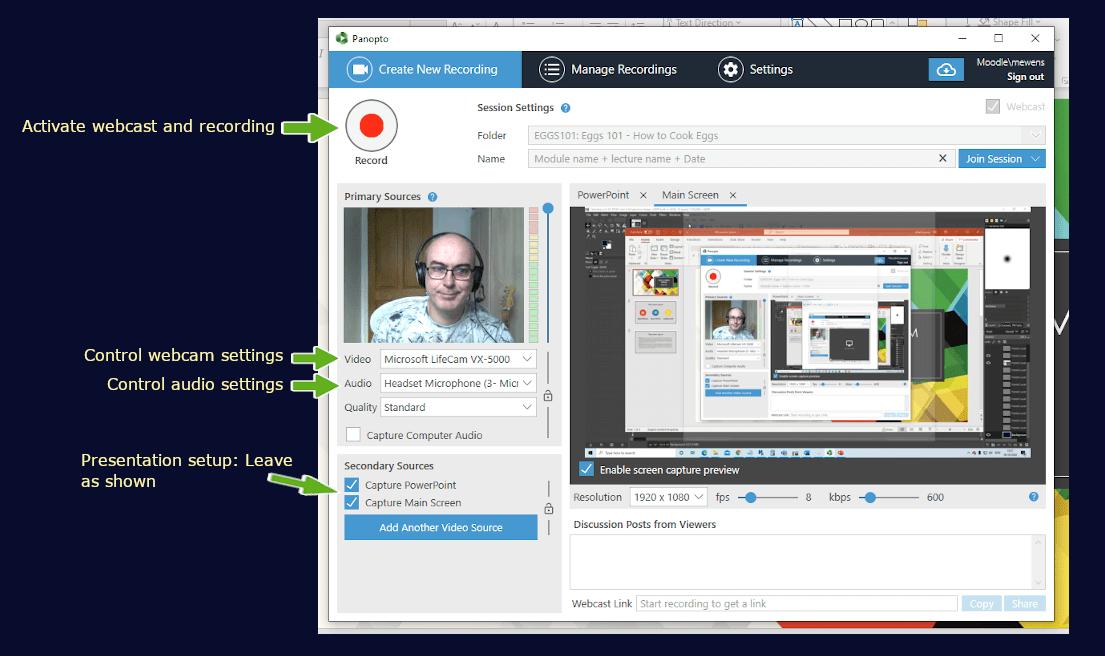 Panopto webcast key