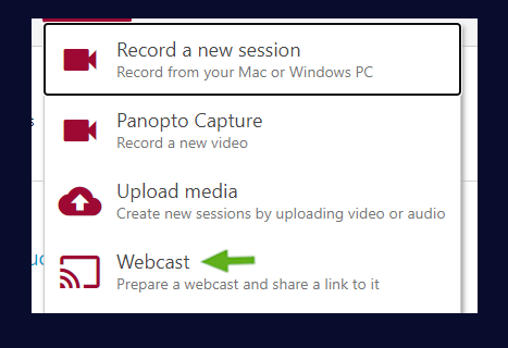 Showing the webcast button