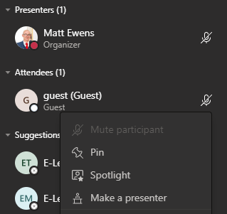 Make a presenter screenshot