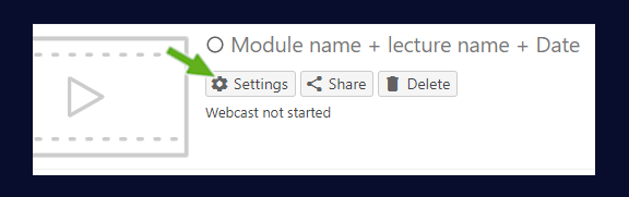 showing the module settings