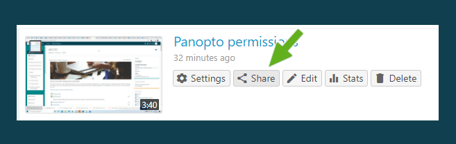 screenshot showing the sharing options